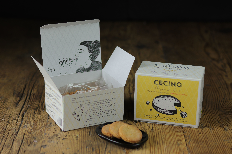Cecino vegan koekjes box 160gr - gember en limoen