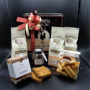 Cadeau bewaarblik met ambachtelijke koffie en ambachtelijk lekkers